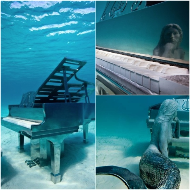 Underwater Sculpture Bahamas_David Copperfield's Mermaid Pianist Exumas