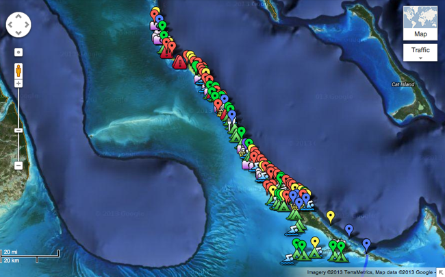 Google Map of The Exumas with locations descriptions_Out Island Explorers