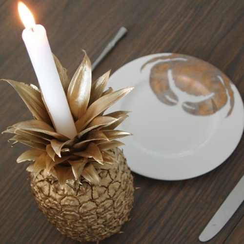 DIY Gold Pineapple Candle Holder