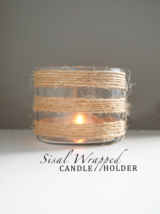 DIY Sisal Wrapped Candle Holder