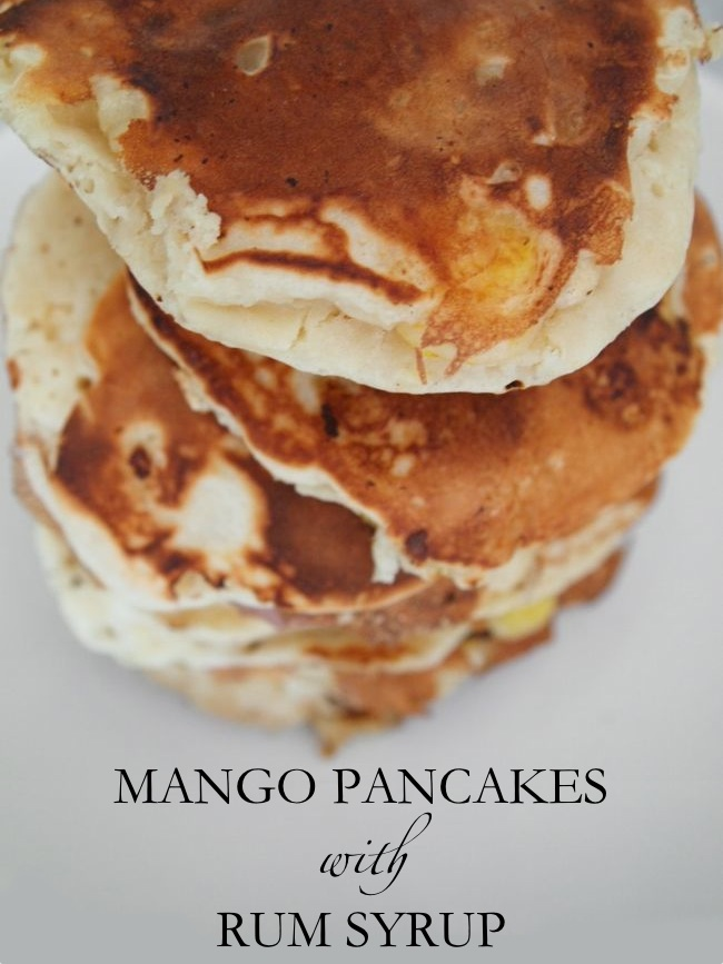 Mango Pancakes With Rum Syrup