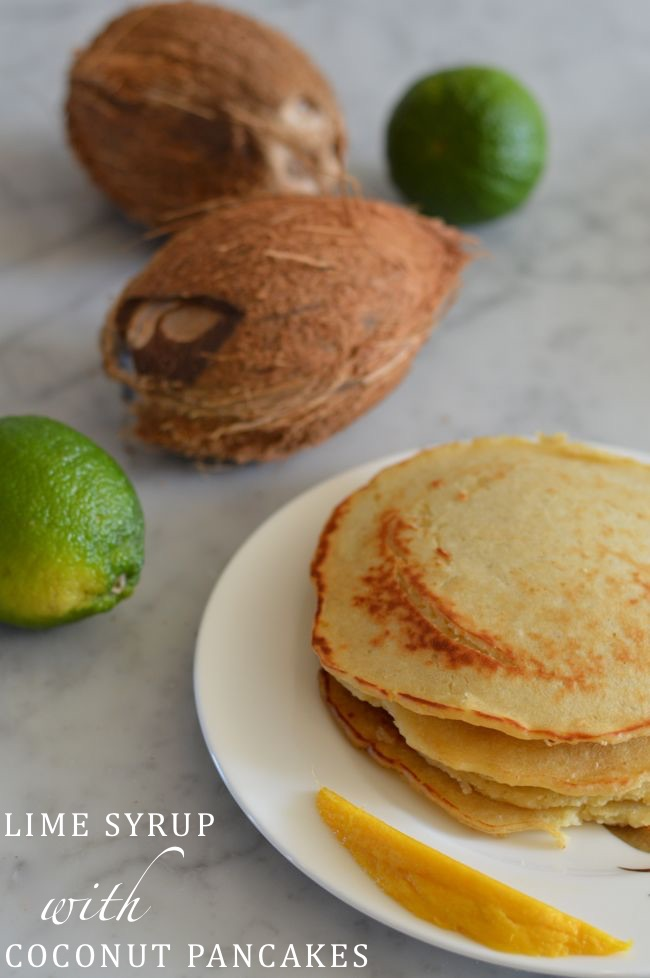 Lime Syrup with Coconut Pancakes